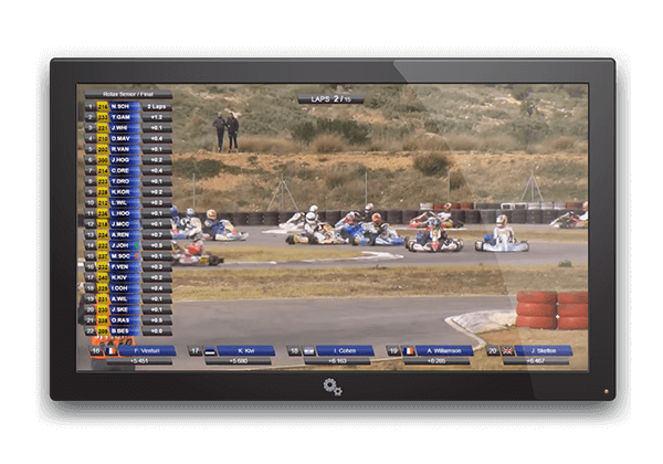 With Apex Timing Live Graphics, view live videos of your go-kart races. Discover the karting software for complete management of your leisure center.