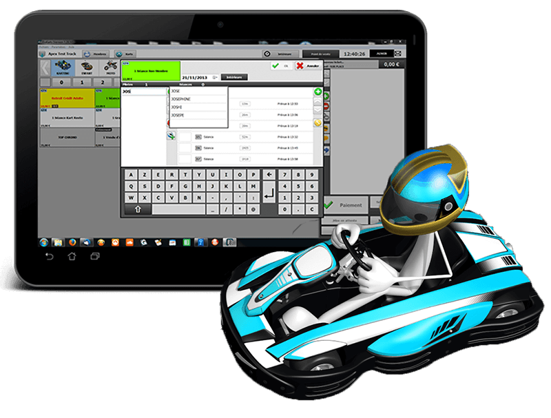 Fully manage your rental karting center thanks to Apex Timing software solution. Sales management, go-kart timing, kart maintenance, go-kart track safety, display of results, everything is included in the software.