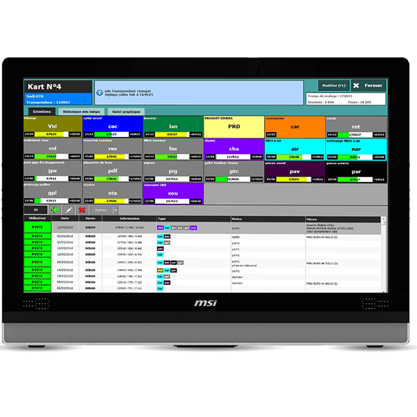 Manage the maintenance of your kart fleet with the maintenance module, part of Apex Timing go-kart software solution